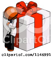 Orange Doctor Scientist Man Leaning On Gift With Red Bow Angle View