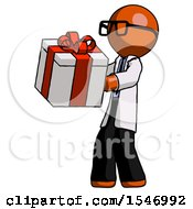 Orange Doctor Scientist Man Presenting A Present With Large Red Bow On It