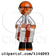 Orange Doctor Scientist Man Gifting Present With Large Bow Front View