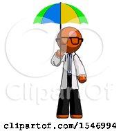 Orange Doctor Scientist Man Holding Umbrella Rainbow Colored
