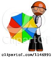Orange Doctor Scientist Man Holding Rainbow Umbrella Out To Viewer