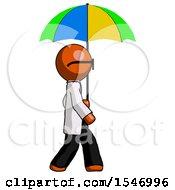 Orange Doctor Scientist Man Walking With Colored Umbrella