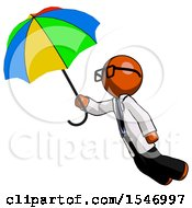 Orange Doctor Scientist Man Flying With Rainbow Colored Umbrella
