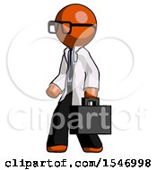 Orange Doctor Scientist Man Walking With Briefcase To The Left
