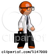 Orange Doctor Scientist Man Walking With Briefcase To The Right