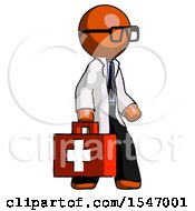 Orange Doctor Scientist Man Walking With Medical Aid Briefcase To Right