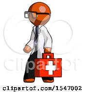 Orange Doctor Scientist Man Walking With Medical Aid Briefcase To Left