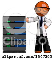 Orange Doctor Scientist Man With Server Rack Leaning Confidently Against It