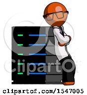 Orange Doctor Scientist Man Resting Against Server Rack Viewed At Angle