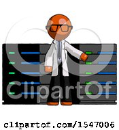 Orange Doctor Scientist Man With Server Racks In Front Of Two Networked Systems