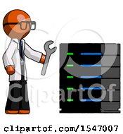 Orange Doctor Scientist Man Server Administrator Doing Repairs