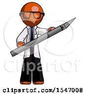 Orange Doctor Scientist Man Holding Large Scalpel