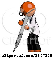 Orange Doctor Scientist Man Cutting With Large Scalpel