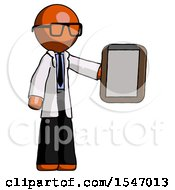 Orange Doctor Scientist Man Showing Clipboard To Viewer
