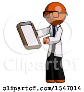 Orange Doctor Scientist Man Reviewing Stuff On Clipboard