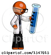Orange Doctor Scientist Man Holding Large Test Tube