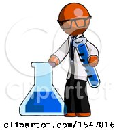 Orange Doctor Scientist Man Holding Test Tube Beside Beaker Or Flask