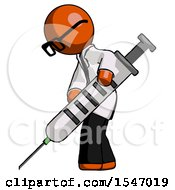 Orange Doctor Scientist Man Using Syringe Giving Injection