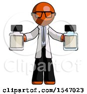 Orange Doctor Scientist Man Holding Two Medicine Bottles