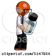 Orange Doctor Scientist Man Holding Glass Medicine Bottle