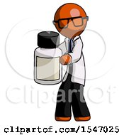 Orange Doctor Scientist Man Holding White Medicine Bottle