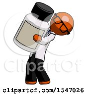 Orange Doctor Scientist Man Holding Large White Medicine Bottle