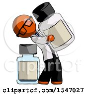 Orange Doctor Scientist Man Holding Large White Medicine Bottle With Bottle In Background