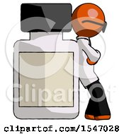 Orange Doctor Scientist Man Leaning Against Large Medicine Bottle