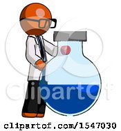 Orange Doctor Scientist Man Standing Beside Large Round Flask Or Beaker