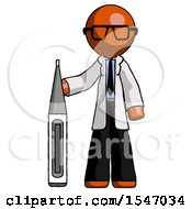 Orange Doctor Scientist Man Standing With Large Thermometer