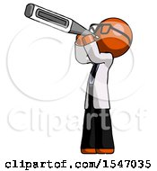 Orange Doctor Scientist Man Thermometer In Mouth