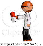 Orange Doctor Scientist Man Holding Red Pill Walking To Left