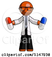 Orange Doctor Scientist Man Holding A Red Pill And Blue Pill