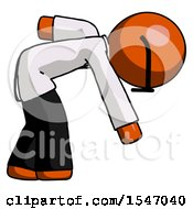Orange Doctor Scientist Man Picking Something Up Bent Over