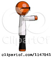 Orange Doctor Scientist Man Pointing Right