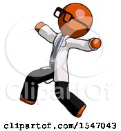 Orange Doctor Scientist Man Running Away In Hysterical Panic Direction Left