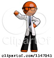 Orange Doctor Scientist Man Waving Right Arm With Hand On Hip