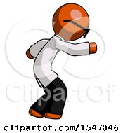 Orange Doctor Scientist Man Sneaking While Reaching For Something