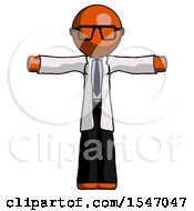 Orange Doctor Scientist Man T Pose Arms Up Standing