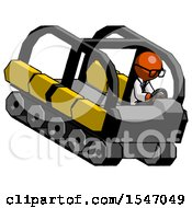 Orange Doctor Scientist Man Driving Amphibious Tracked Vehicle Top Angle View