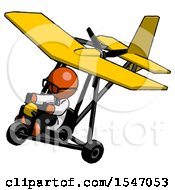 Orange Doctor Scientist Man In Ultralight Aircraft Top Side View