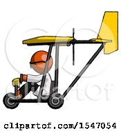 Orange Doctor Scientist Man In Ultralight Aircraft Side View