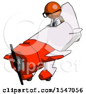 Orange Doctor Scientist Man In Geebee Stunt Plane Descending View