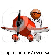 Orange Doctor Scientist Man Flying In Geebee Stunt Plane Viewed From Below