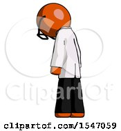 Orange Doctor Scientist Man Depressed With Head Down Back To Viewer Left