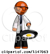 Orange Doctor Scientist Man Frying Egg In Pan Or Wok