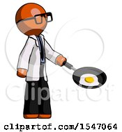 Orange Doctor Scientist Man Frying Egg In Pan Or Wok Facing Right