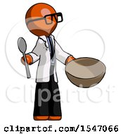 Orange Doctor Scientist Man With Empty Bowl And Spoon Ready To Make Something