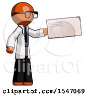 Orange Doctor Scientist Man Holding Large Envelope