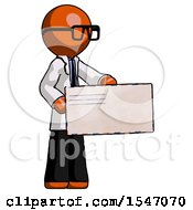 Orange Doctor Scientist Man Presenting Large Envelope